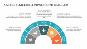 5 Stage Semi-Circle PowerPoint Diagram