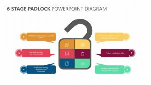 6 Stage Padlock PowerPoint Diagram