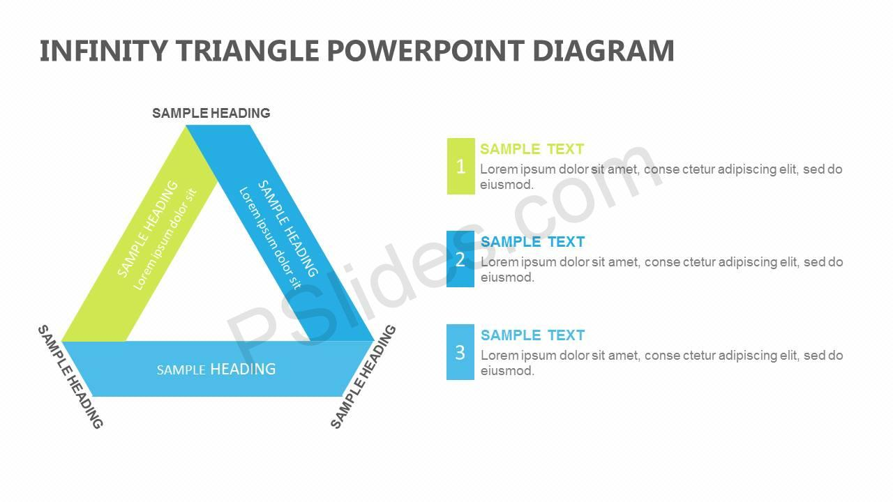 infinity triangle powerpoint diagram with text boxes slide1