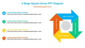 4 Stage Square Arrow PPT Diagram