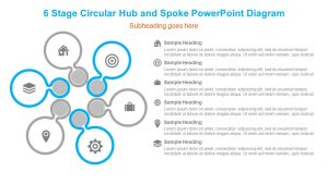 6 Stage Circular Hub and Spoke PowerPoint Diagram