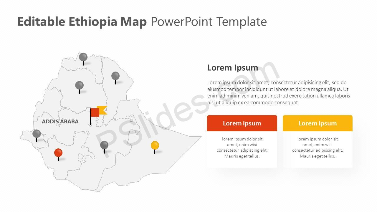 Editable Ethiopia PowerPoint Map Slide1