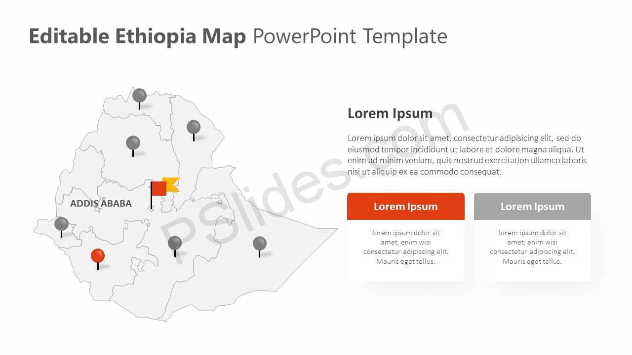 Editable Ethiopia PowerPoint Map Slide2