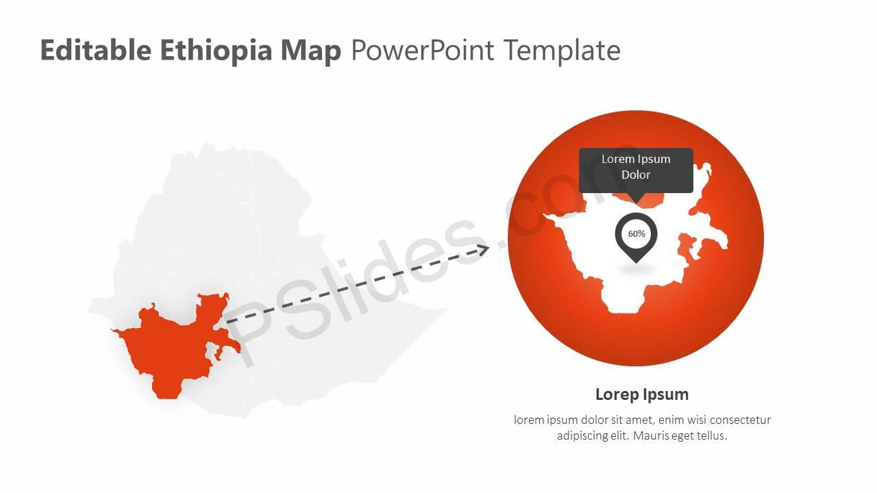 Editable Ethiopia PowerPoint Map Slide4