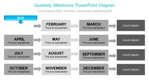 Quarterly Milestones PowerPoint Diagram