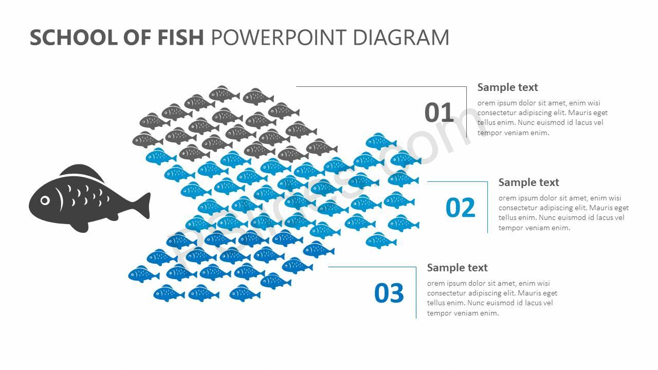 School of Fish PowerPoint Diagram Slide1