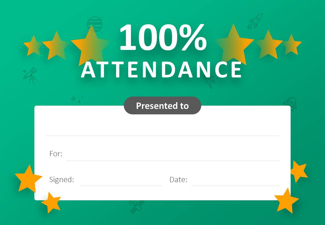 100% Attendance Certificate for PowerPoint Slide1