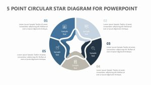 5 Point Circular Star Diagram for PowerPoint