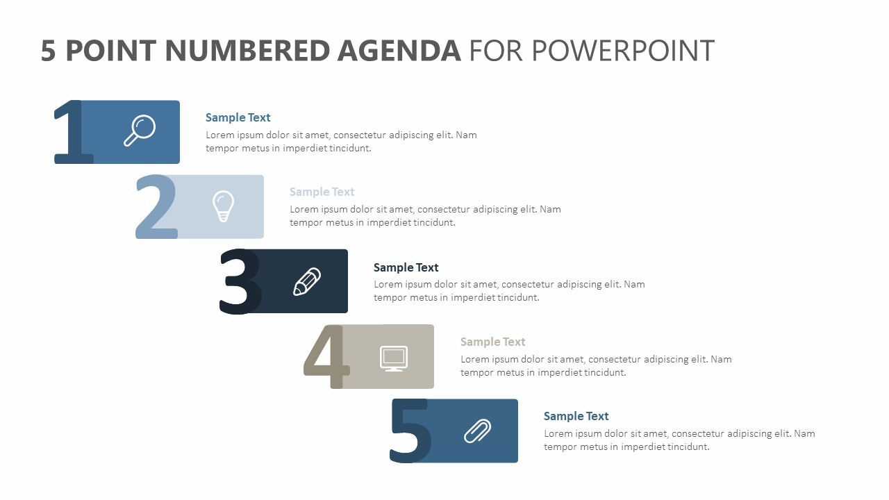 5 Point Numbered Agenda for PowerPoint (1)