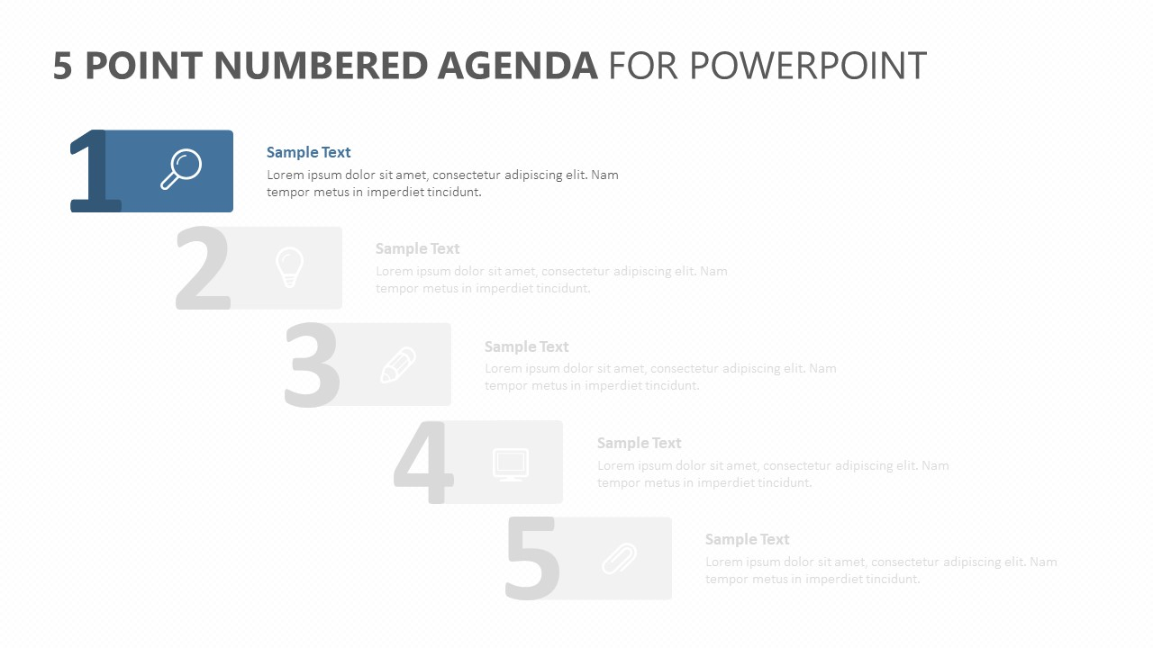 5 Point Numbered Agenda for PowerPoint (2)