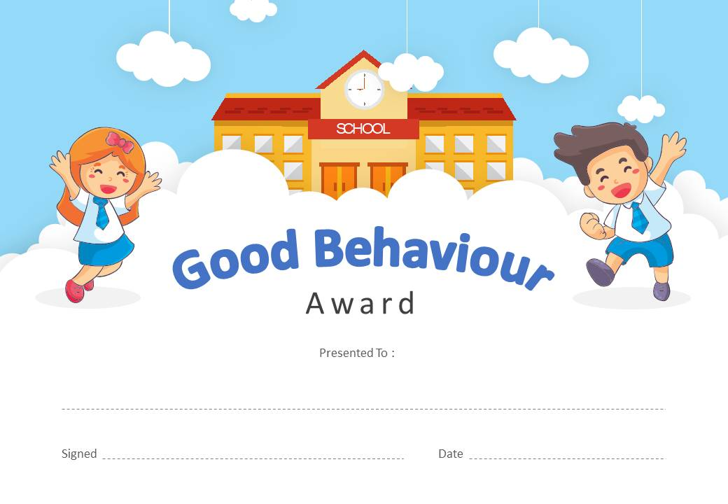 Good Behavior Award PowerPoint Certificate Slide1