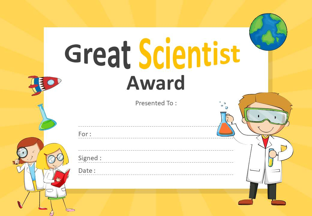 Great Scientist Award Certificate for PowerPoint Slide1