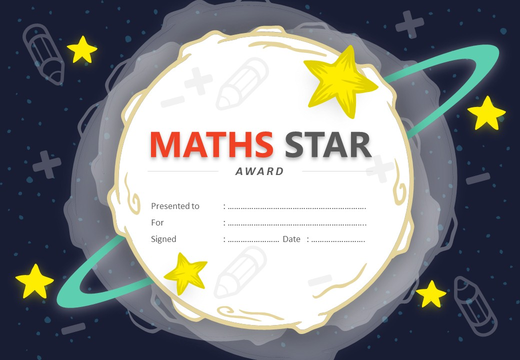 Maths Star Award PowerPoint Certificate