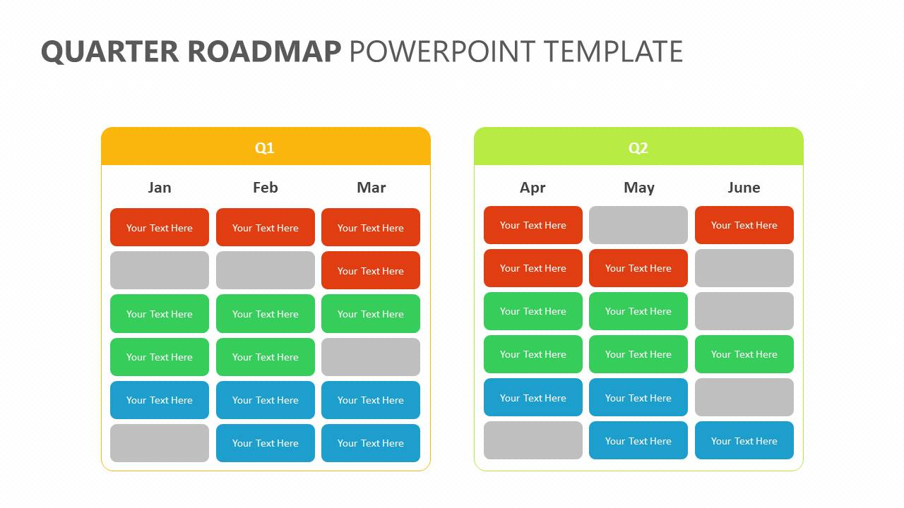 Quarter Roadmap PowerPoint Template Slide1