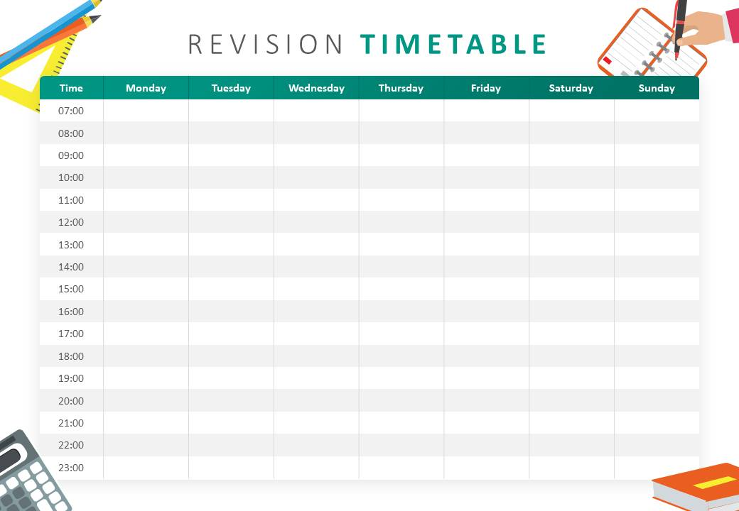 Revision Timetable PowerPoint Template Slide1