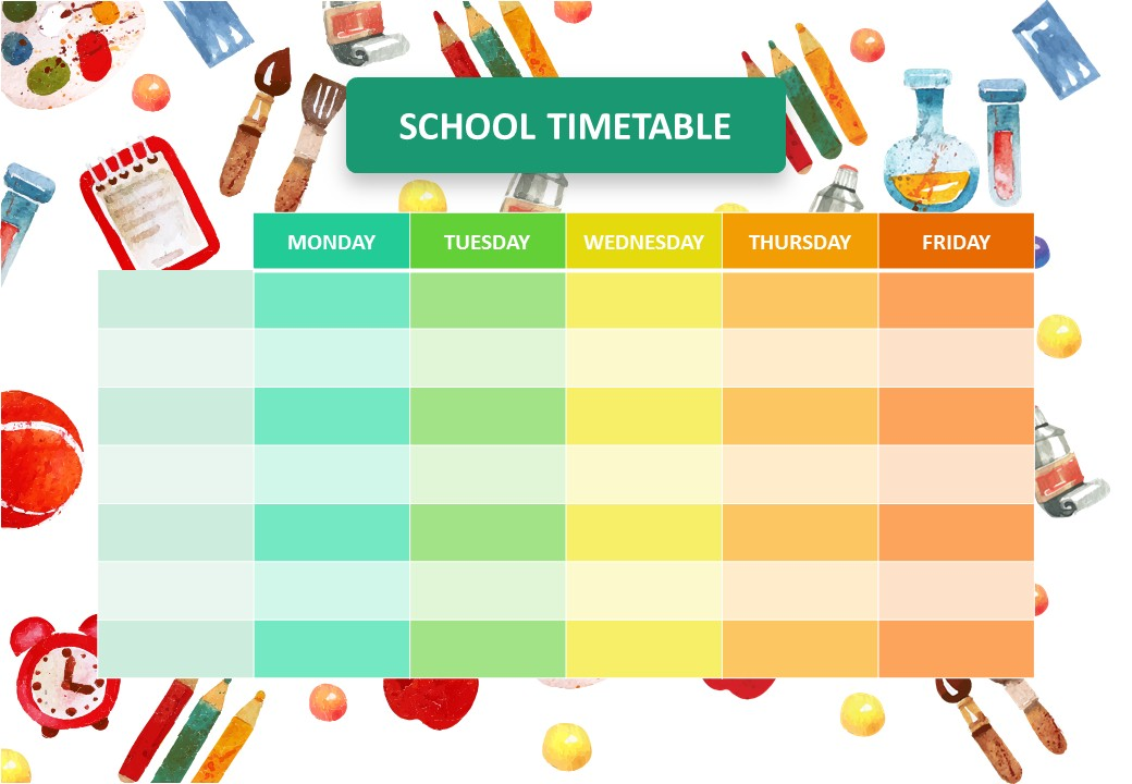 School Timetable for PowerPoint
