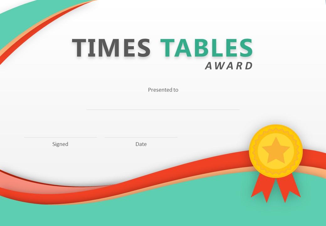 Times Tables Award PowerPoint Certificate