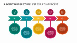 5 Point Bubble Timeline for PowerPoint