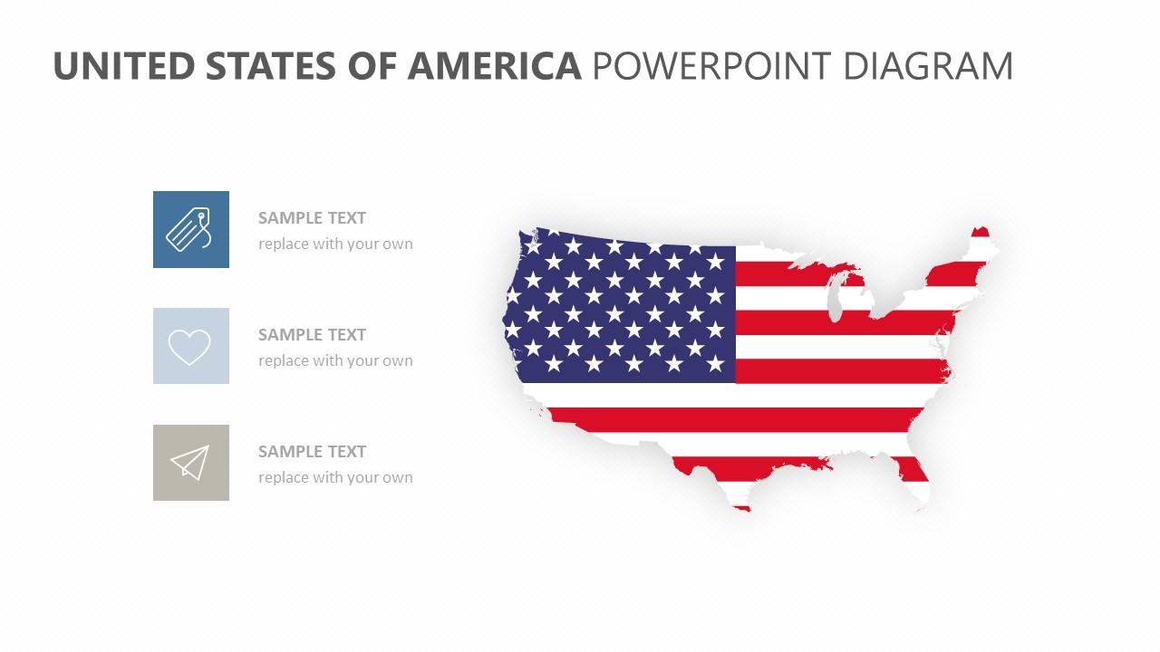 united states of america powerpoint diagram pslides. Black Bedroom Furniture Sets. Home Design Ideas