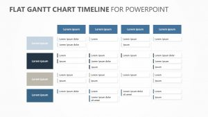 Flat Gantt Chart Timeline for PowerPoint