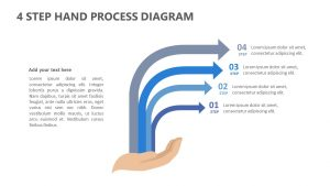 4 Step Hand Process Diagram for PowerPoint