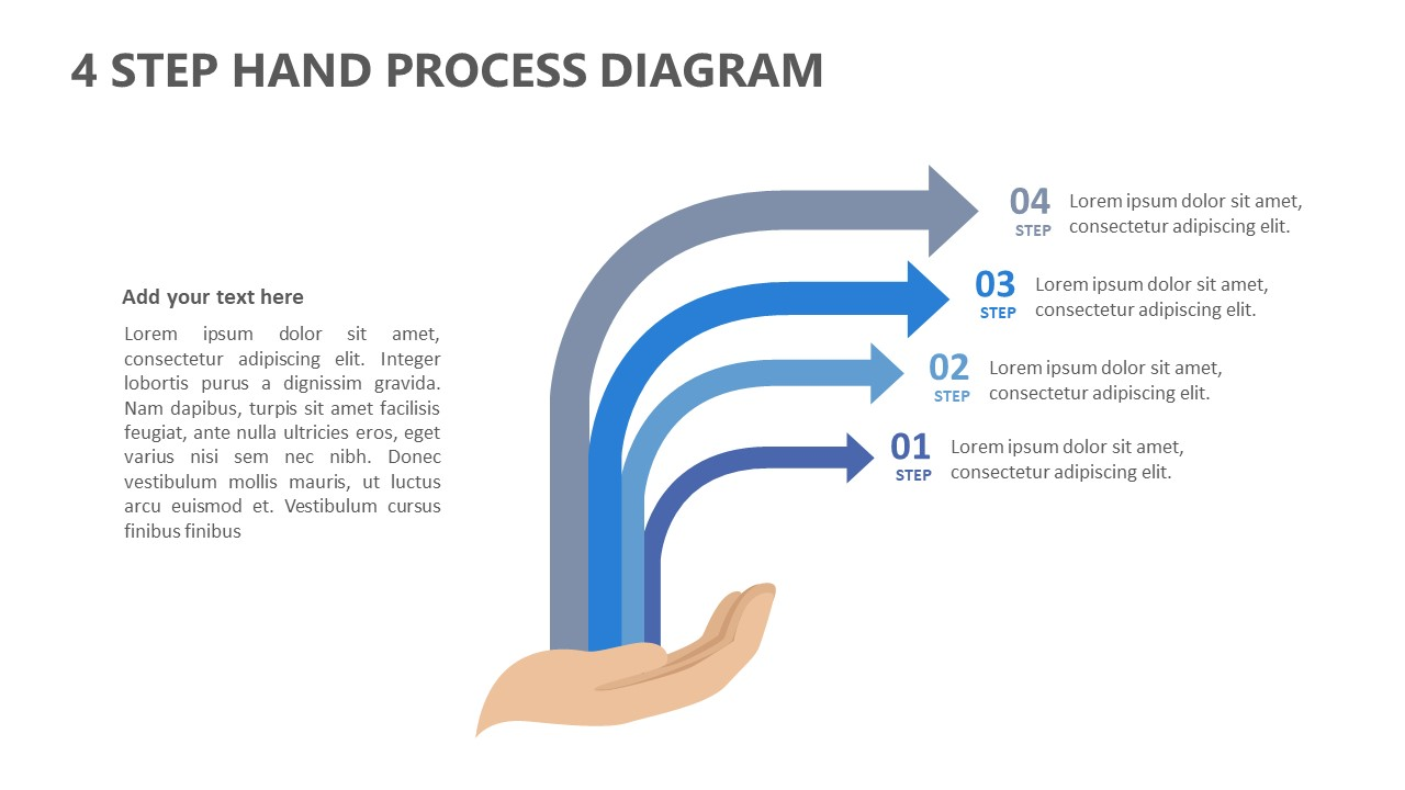 4 Step Hand Process Diagram for PowerPoint (1)