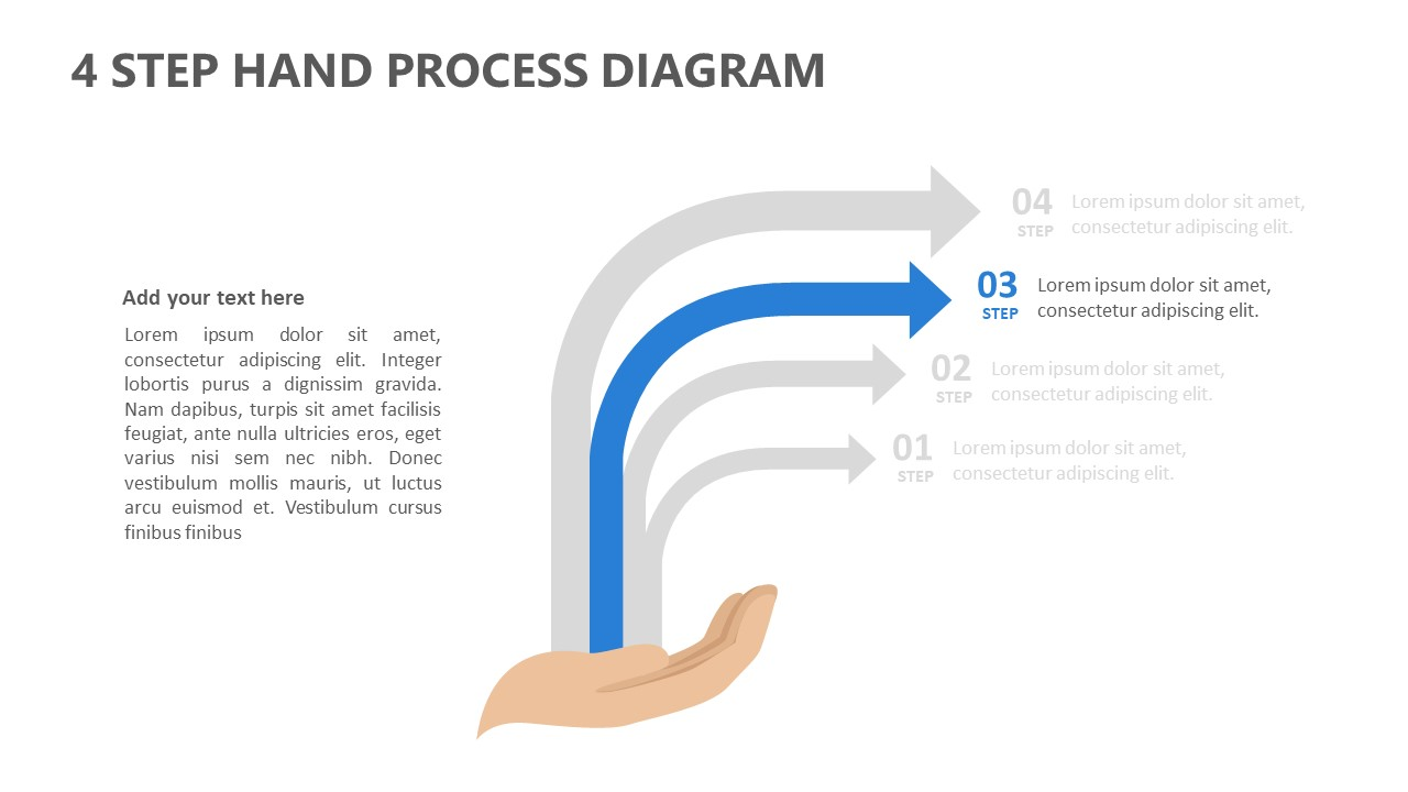 4 Step Hand Process Diagram for PowerPoint (2)