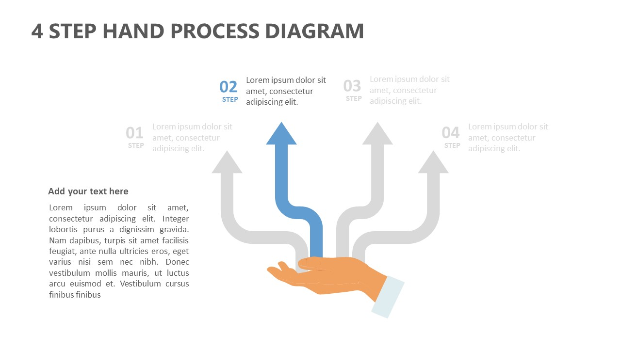 4 Step Hand Process Diagram for PowerPoint (4)