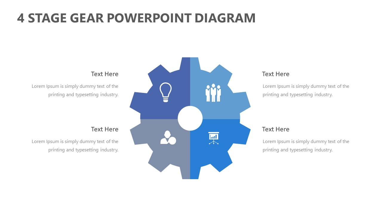 Free 4 Stage Gear PowerPoint Diagram