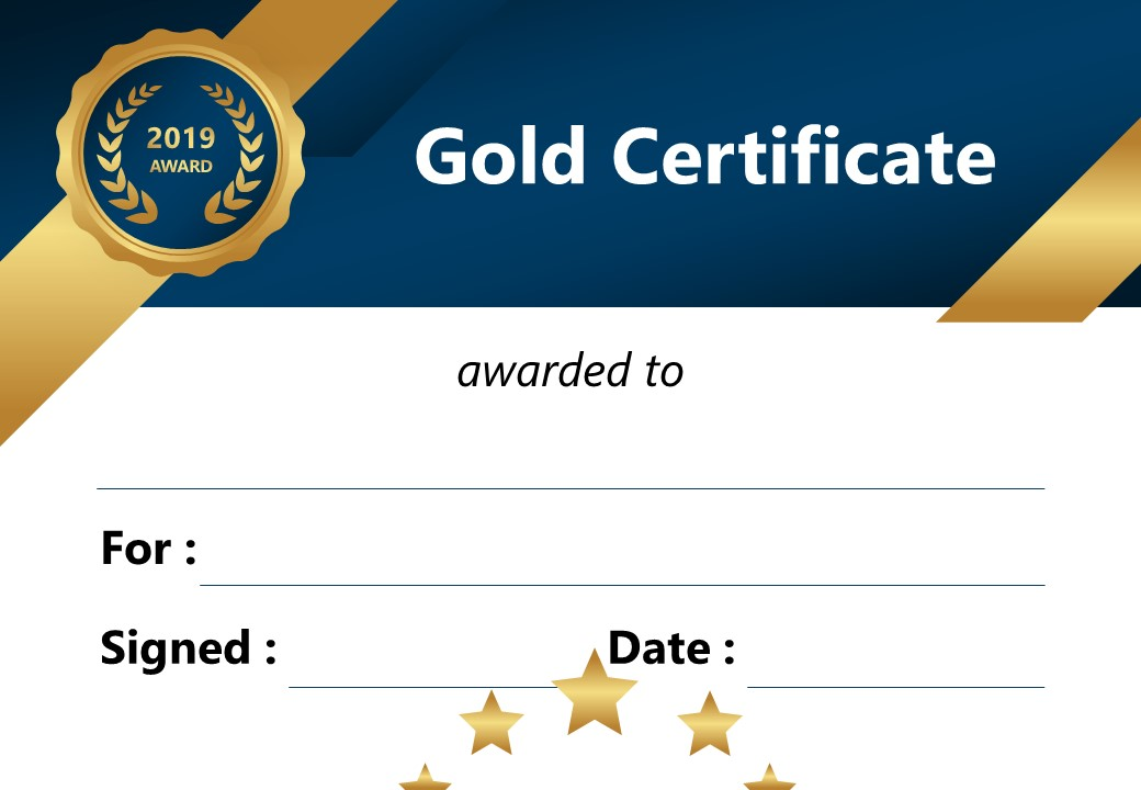 Gold Certificate for PowerPoint