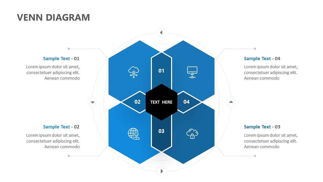 4 Section Hexagon Venn Diagram for PowerPoint