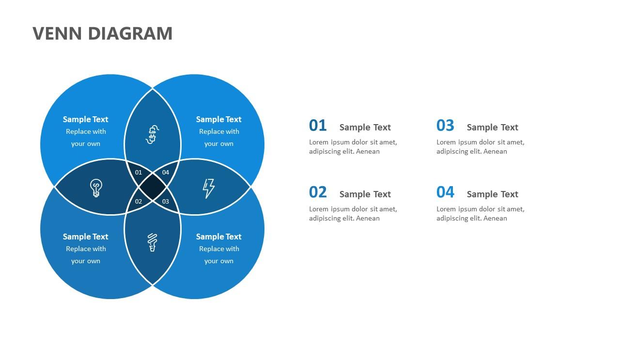 4 Section Venn Diagram for PowerPoint