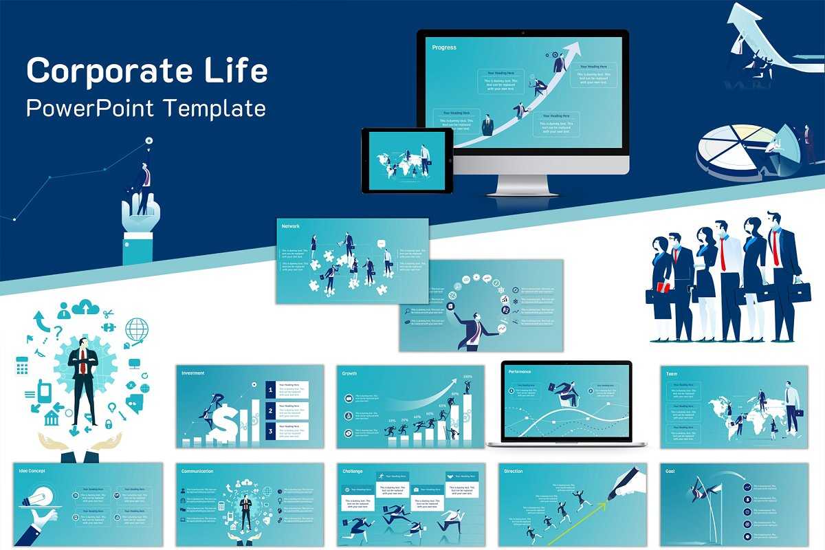 Corporate Life PowerPoint Template (Set 1)